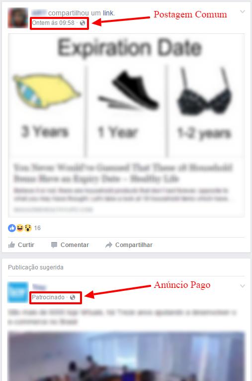 post orgânico e anúncio pago no facebook